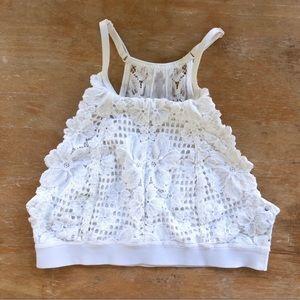Aerie Lace Racerback White Bralette Size XS